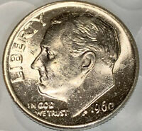 1960 P SILVER ROOSEVELT DIME CHOICE BU FROM BANK ROLL
