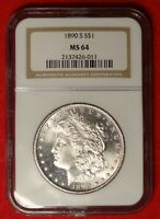 1890-S $1 NGC MINT STATE 64 NEAR GEM UNCIRCULATED LOOKS PL PROOF LIKE MORGAN DOLLAR COIN
