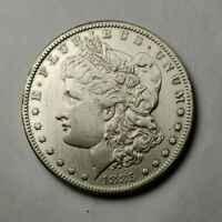 RAW 1885 S MORGAN SILVER DOLLAR $1 SILVER - HIGH GRADE DETAILS - CLEANED
