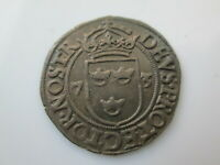 SWEDEN MEDIEVAL SILVERED COPPER COIN JOHANN III  2 RE 1573 S