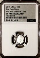 2019 S SILVER 10C FIRST DAY OF ISSUE FIRST .999 FINE SILVER
