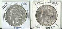 TWO 2   MORGAN SILVER DOLLARS 1885-P & 1881-O  GREAT CONDITION