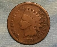 1870 INDIAN HEAD CENT PICK AXE SNOW VARIETY