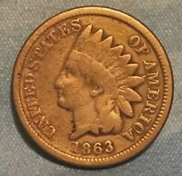1863 INDIAN HEAD CENT SNOW 5 7TH FEATHER BAR