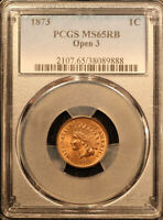 1873 INDIAN CENT OPEN 3 PCGS MS 65RB LOTS OF RED