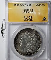 1888-S MORGAN SILVER DOLLAR ANACS AU58 DETAILS CLEANED