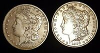 1887 AND 1890 MORGAN SILVER DOLLAR COINS SILVER COINS.