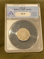 1870 SHIELD NICKEL ANACS VG 8 DDR CIRC COIN FS 801 DOUBLE DI