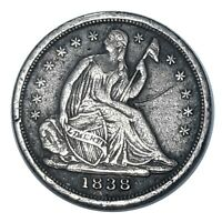 1838 UNITED STATES SEATED LIBERTY SILVER HALF DIME SMALL STARS NO DRAPERY