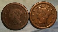 1851 1852 BRAIDED HAIR LARGE CENT LOT