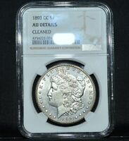 1893-CC $1 MORGAN SILVER DOLLAR  NGC AU DETAILS  ALMOST UNC  NOW TRUSTED