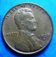 1938-D LINCOLN WHEAT CENT  VG-VF CLEAR DATE SHIPS FREE