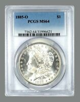 1885 O  MORGAN SILVER DOLLAR  MINT STATE 64  US MINT  $1  SILVER COIN GRADED   PCGS SLAB
