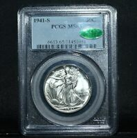 1941-S WALKING LIBERTY HALF DOLLAR  PCGS MINT STATE 65 CAC  50C GEM SILVER TRUSTED