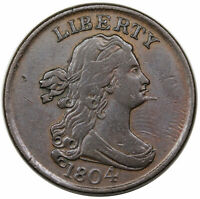 1804 DRAPED BUST HALF CENT, SPIKED CHIN,  C-5, R4,  VF