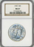 1943 50C WALKING LIBERTY HALF DOLLAR NGC MINT STATE 67 NGC PRICE GUIDE $560