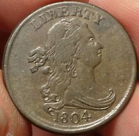 1804 DRAPED BUST HALF CENT CHOICE  FINE EXTRA FINE  EARLY COPPER 1/2C TYPE COIN
