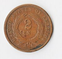 1865 TWO CENT PIECE   OBSOLETE CURRENCY    CENTS AS CEN DIE FILL ERROR  V.