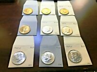 NINE UNC TO GEM KENNEDY HALF DOLLARS 40  SILVER 1968 D & 1969 D ORIGINAL/TONED