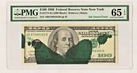 $100 1996 NEW YORK FRN   INK SMEAR ON FACE ERROR  PMG GEM UNC 65 EPQ