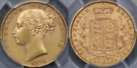 GREAT BRITAIN, 1871 SHIELD REVERSE SOVEREIGN - PCGS MINT STATE 61