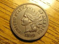 1870 1C INDIAN HEAD CENT BOLD N LOW MINTAGE CHOICE ABOUT UNC