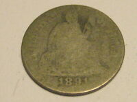 1891-P SEATED LIBERTY DIME 90 SILVER