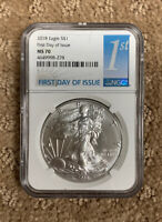 2018 AMERICAN SILVER EAGLE - NGC MS70 - FIRST DAY OF ISSUE - 1ST LABEL