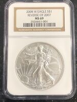 2008 W REVERSE OF 2007 AMERICAN SILVER EAGLE NGC MINT STATE 69  KEY DATE 2526661-001