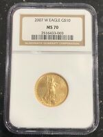 2007 $10 1/4 OZ AMERICAN GOLD EAGLE NGC MS70  KEY DATE 34,004 MINTAGE