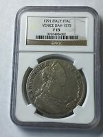 1791 ITALY TALLERO NGC F15 LARGE SILVER CROWN RARE THALER BE