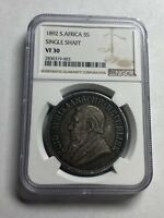 SOUTH AFRICA 1892 SILVER 5 SHILLINGS  SINGLE SHAFT NGC VF30