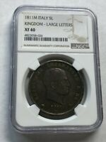 ITALY KINGDOM/FRANCE NAPOLEON LARGE SILVER 5 LIRE 1811 NGC XF40