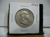 1953 D  BEN FRANKLIN   HALF  DOLLAR      50 CENT PIECE   COIN   53D   AUCTION