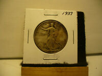 1937  WALKER  LIBERTY WALKING  HALF  DOLLAR  50 CENT PIECE   COIN  37 AUCTION