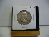 1957D   BEN  FRANKLIN  HALF   DOLLAR  50   CENT  PIECE    57D   GOOD   GRADE