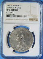 1887 GREAT BRITAIN JUBILEE HEAD SILVER 4 FOUR SHILLINGS COIN NGC UNC DETAILS
