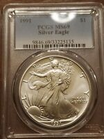 1991 $1 SILVER EAGLE MINT STATE 69 PCGS CERTIFICATION 9846.69/33225135