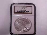1991 US SILVER EAGLE NGC MINT STATE 69