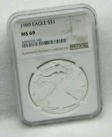 1989 US SILVER EAGLE NGC MINT STATE 69