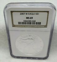 2007 W NGC MINT STATE 69 SILVER EAGLE