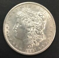 1884-S MORGAN SILVER DOLLAR 11063 AU WITH DECENT AMOUNT OF LUSTER.