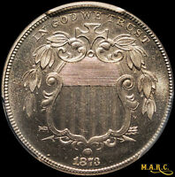 1873 PR66 PCGS 5C SHIELD NICKEL, CLEAN BRIGHT REFLECTIVE PROOF SURFACES MARC