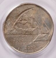 PCGS 25C 2000 P VIRGINIA QUARTER TRIPLE STRUCK 30  OFF CENTE