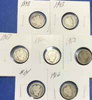1898 1916 US BARBER SILVER DIMES SET OF 7 DIFFERENT CARDED C