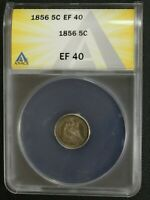 1856 SEATED LIBERTY SILVER HALF DIME ANACS EXTRA FINE  40