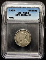1935 NEW ZEALAND SHILLING KM3 - ICG TOP POP 1/0 - KEY DATE SILVER