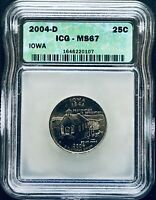2004-D STATE QUARTER IOWA - ICG MINT STATE 67 - SUPERB GEM UNCIRCULATED GEM BU
