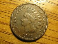 1869 1C INDIAN HEAD CENT DATE DOUBLING XF EXTRA FINE DETAILS