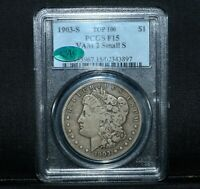 1903-S $1 MORGAN SILVER DOLLAR  PCGS F-15 CAC  MICRO S TOP 100 VAM 2 TRUSTED